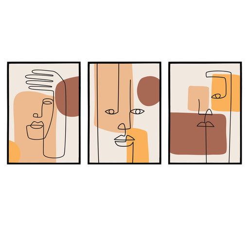 Set of 3 Cubism-Inspired Matching Prints