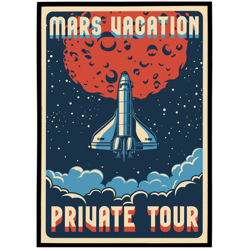 Mars Vacation - Retro Space Travel Poster