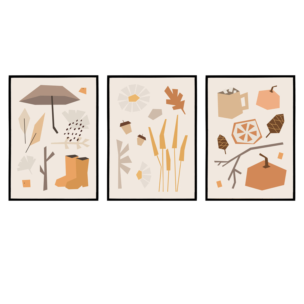 Set of 3 Prints - Autumn Illustrations