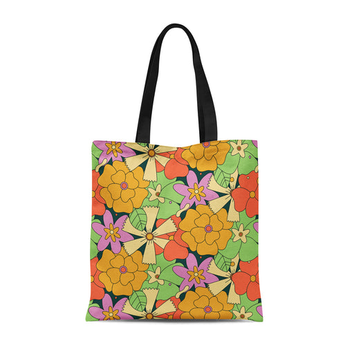 Tote Bag with retro floral pattern