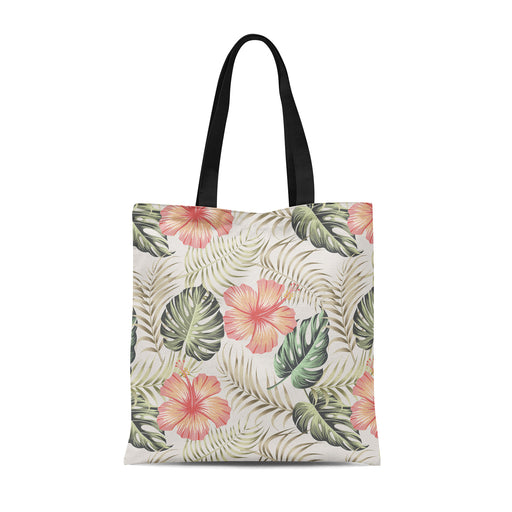 Tote Bag with handdrawn monstera pattern