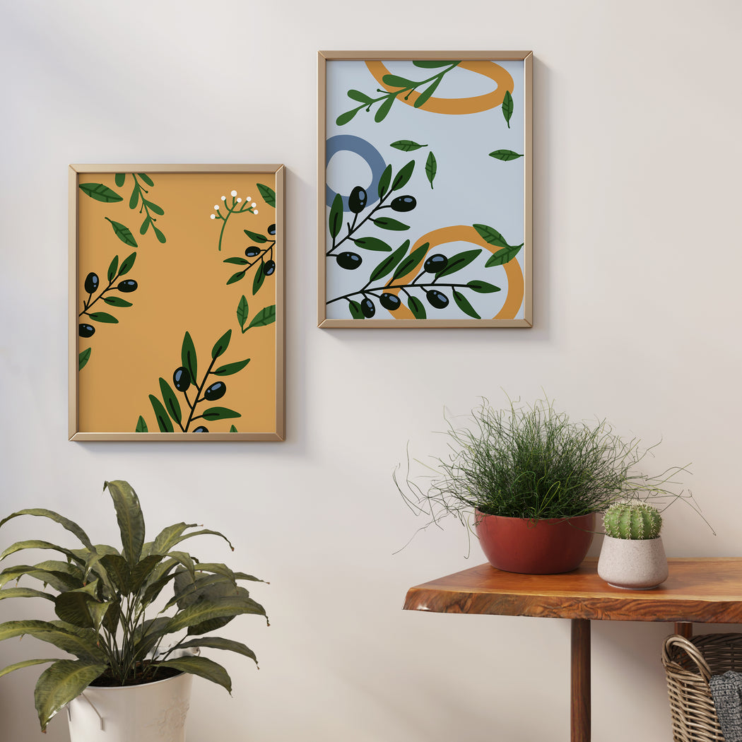 Set of 2 Olive Branches Art Prints
