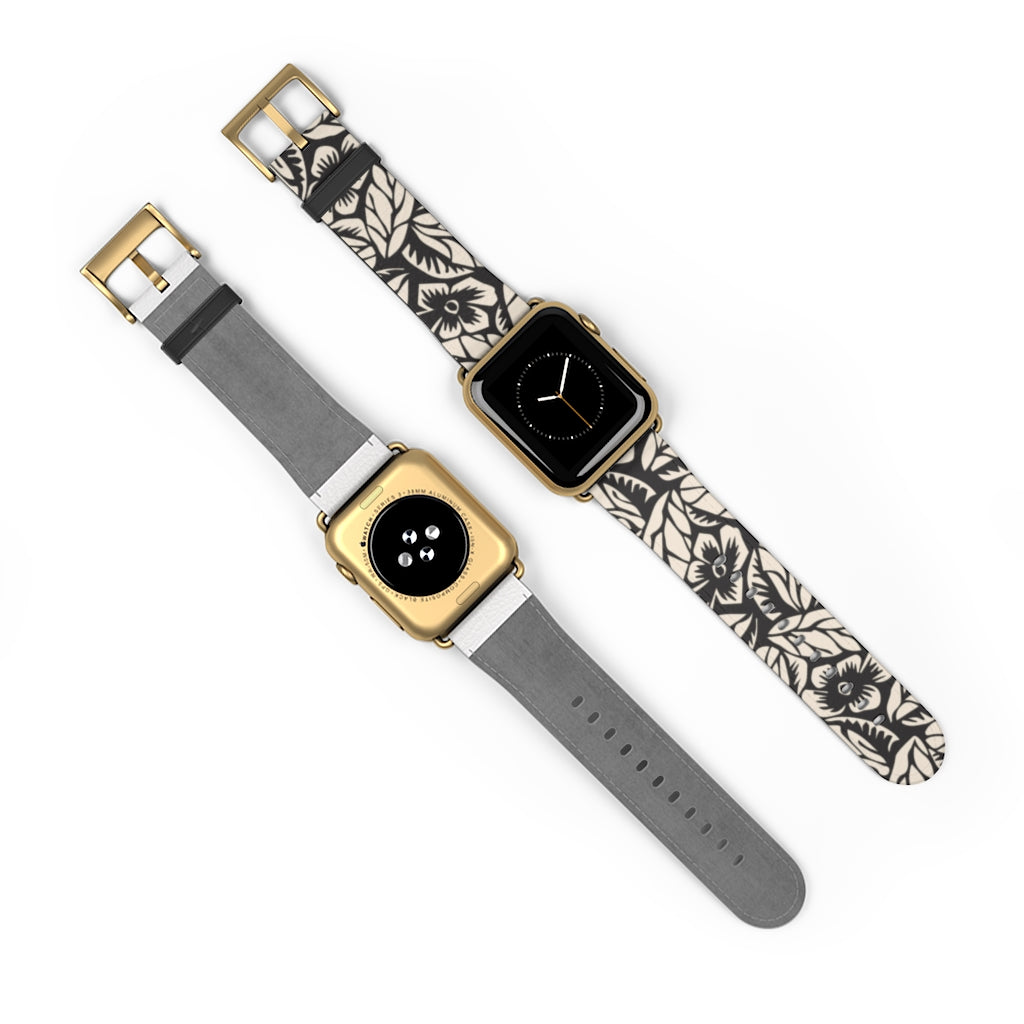 Black Floral Apple Watch Band
