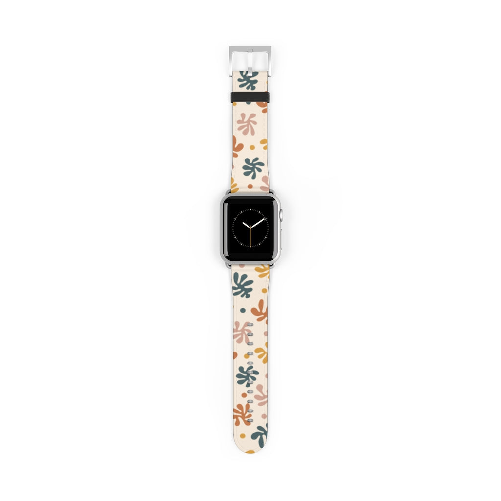 Flowers Beige Apple Watch Band