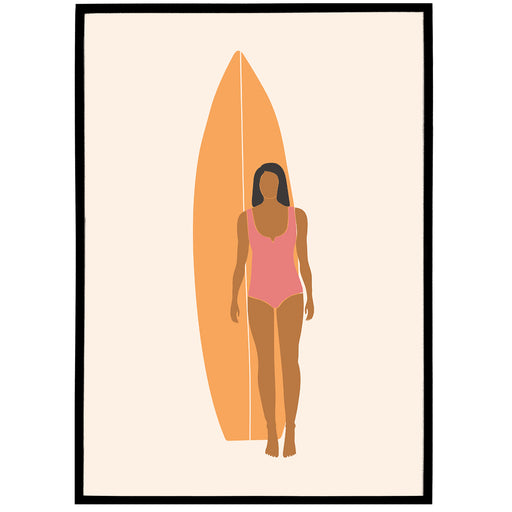 Boho Illustration Print 08 - Surfgirl