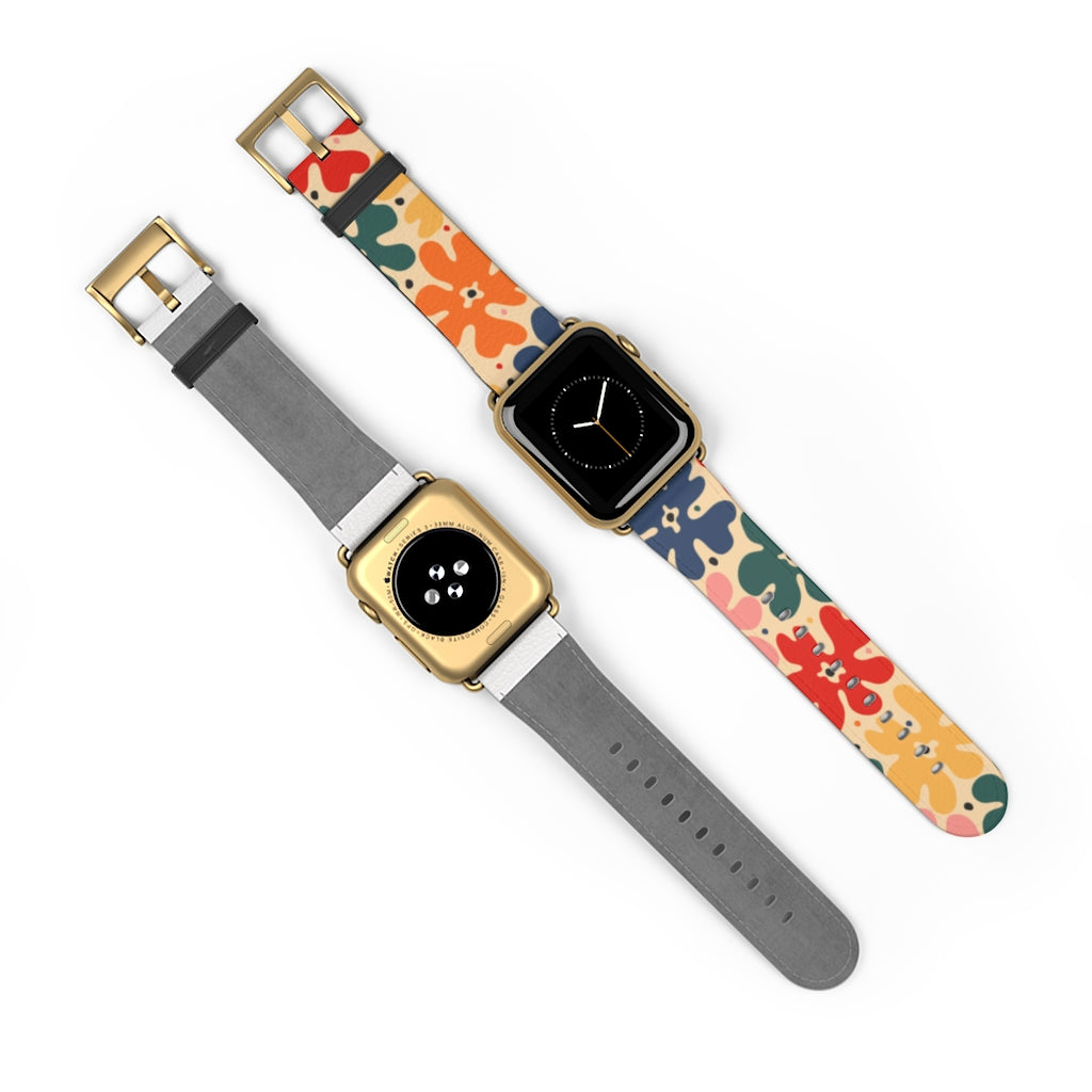 Watch Band with Retro Flowers