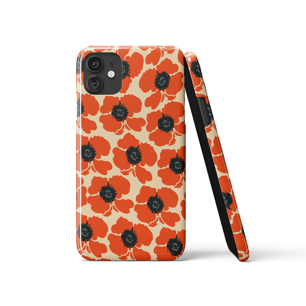 iPhone Case with Vintage Poppies Print