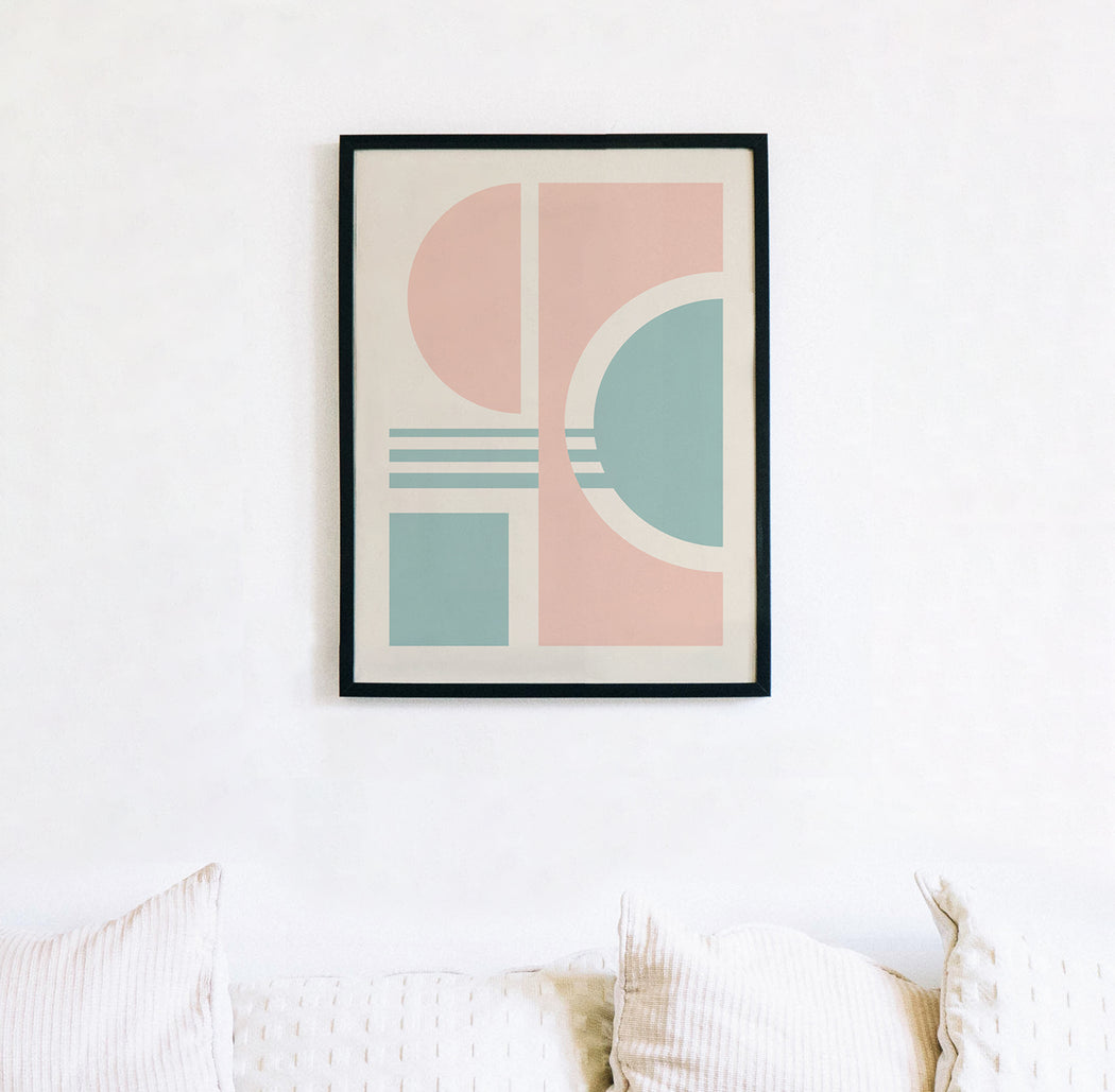 Pink Abstract Geometric Print