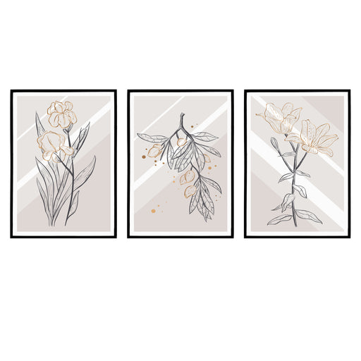 Set of 3 Floral Classic Posters