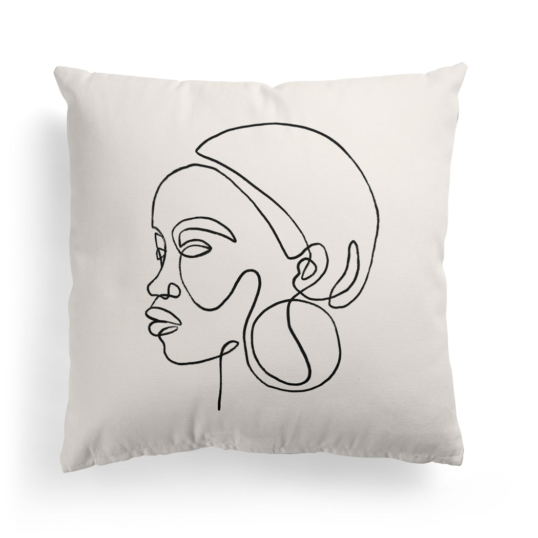 Line Art Face Pillow
