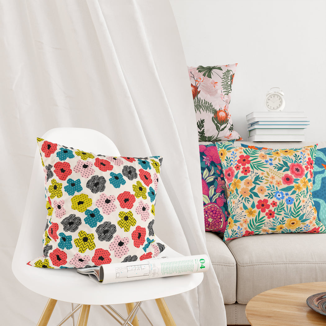 Retro 60s Floral Pillow