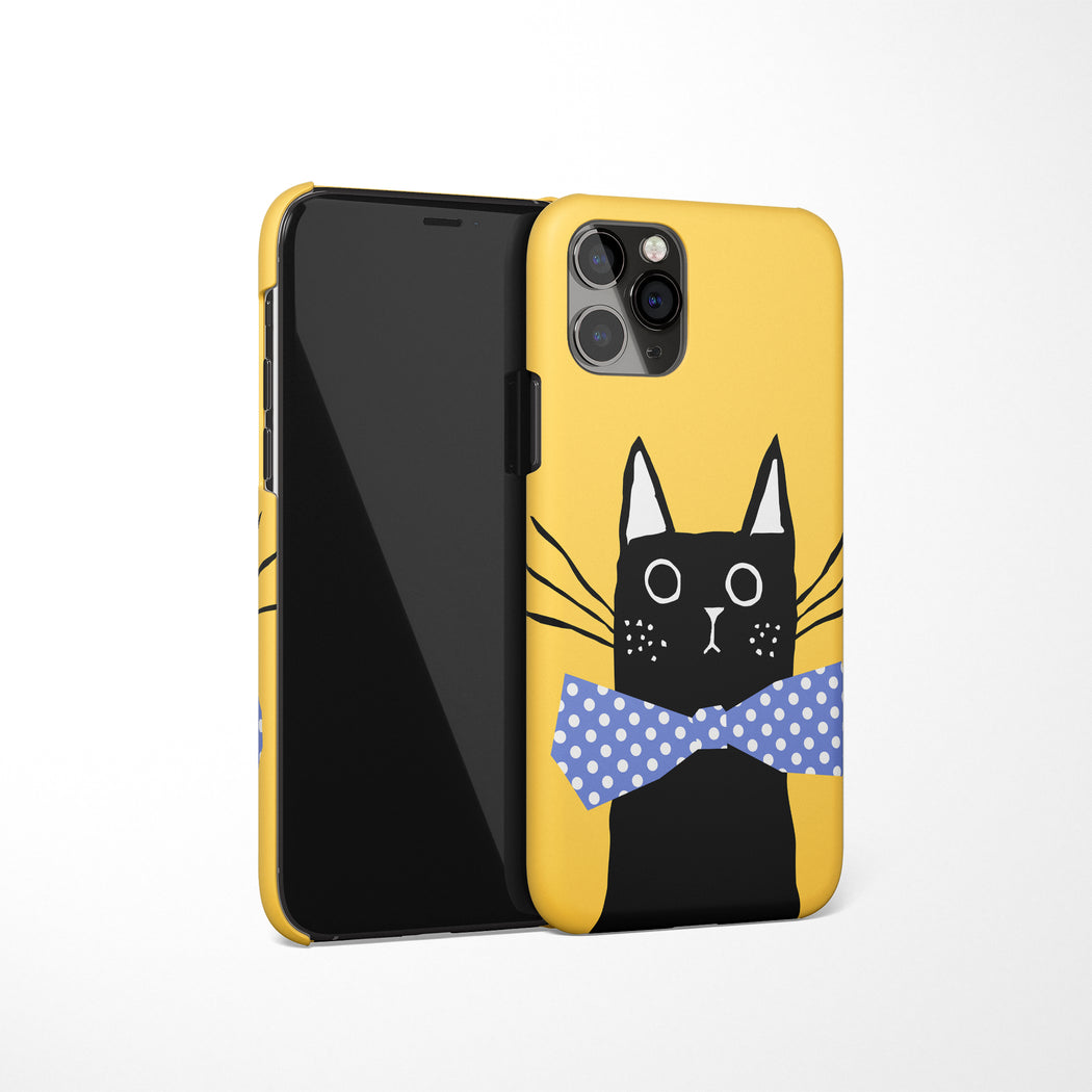 Black Cat Drawing iPhone Case