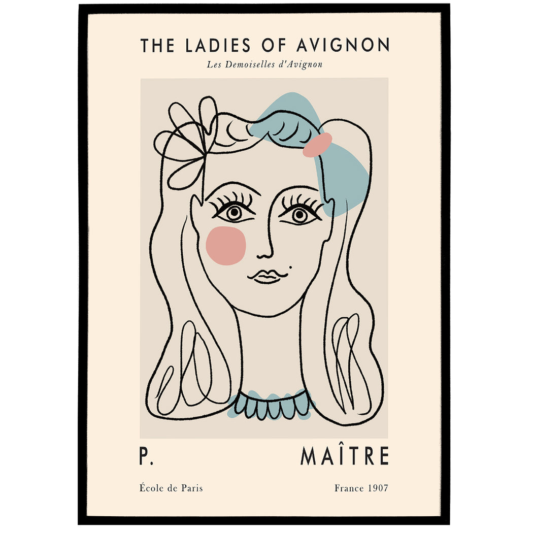 Line Art - The Ladies of Avignon - Poster