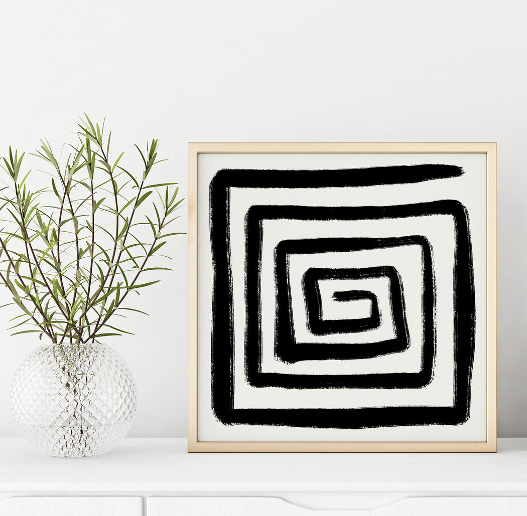 Abstract B&W Square Print