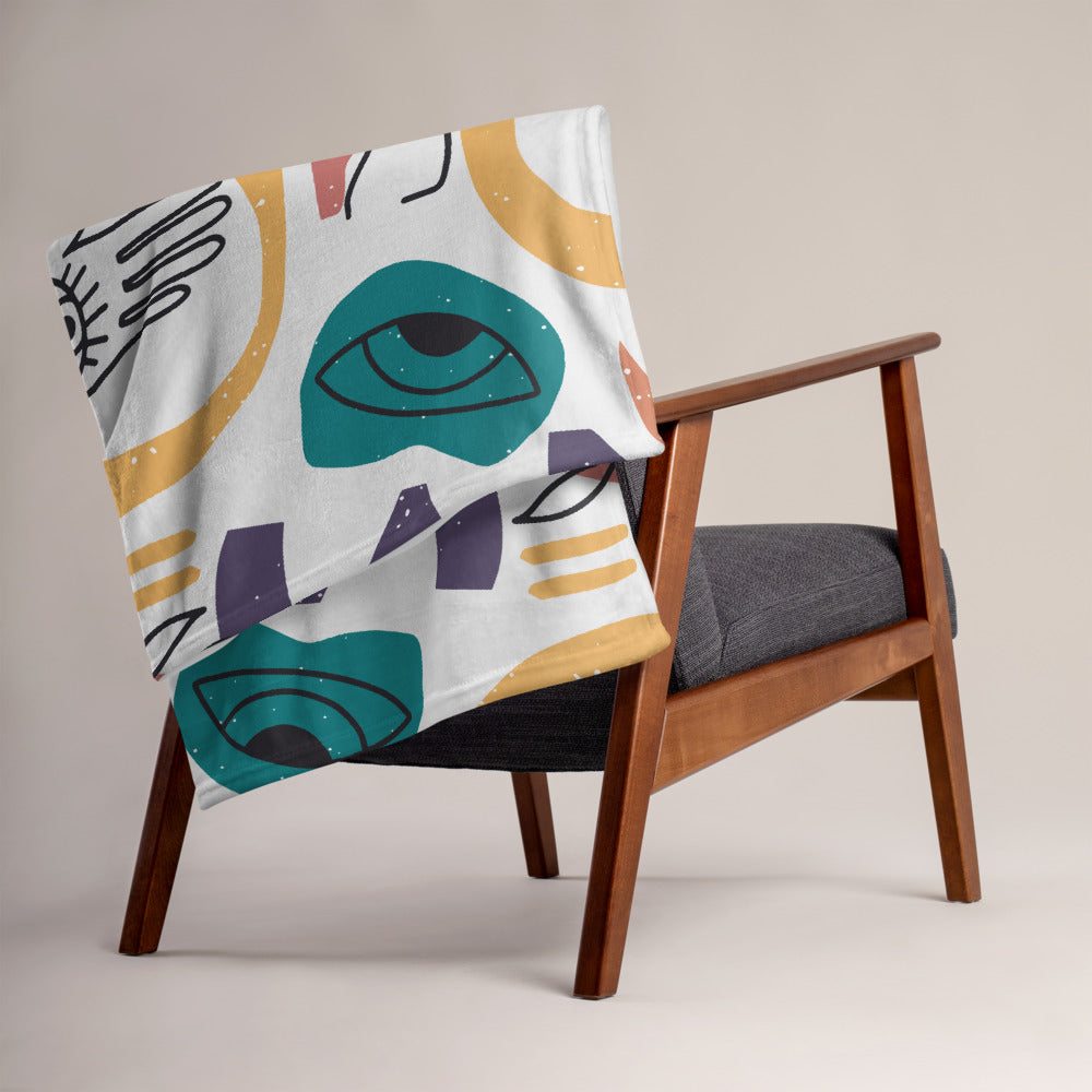 Throw Blanket with Mid Century Art