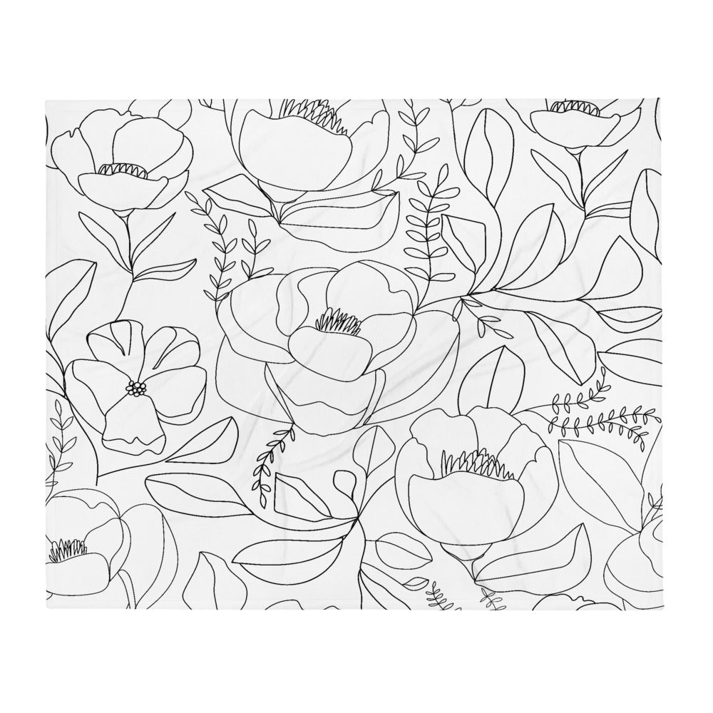 Throw Blanket with Floral Line Art
