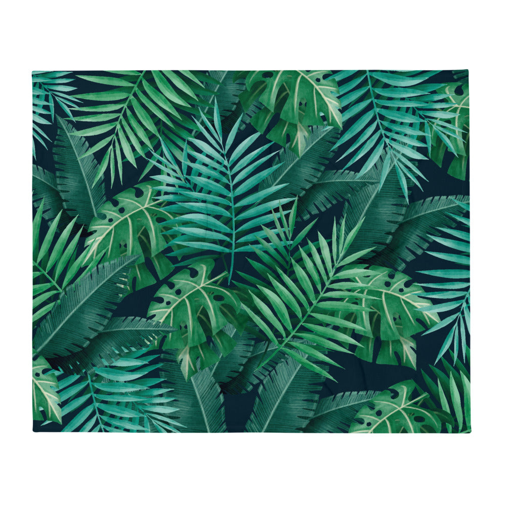Throw Blanket with Green Tropical