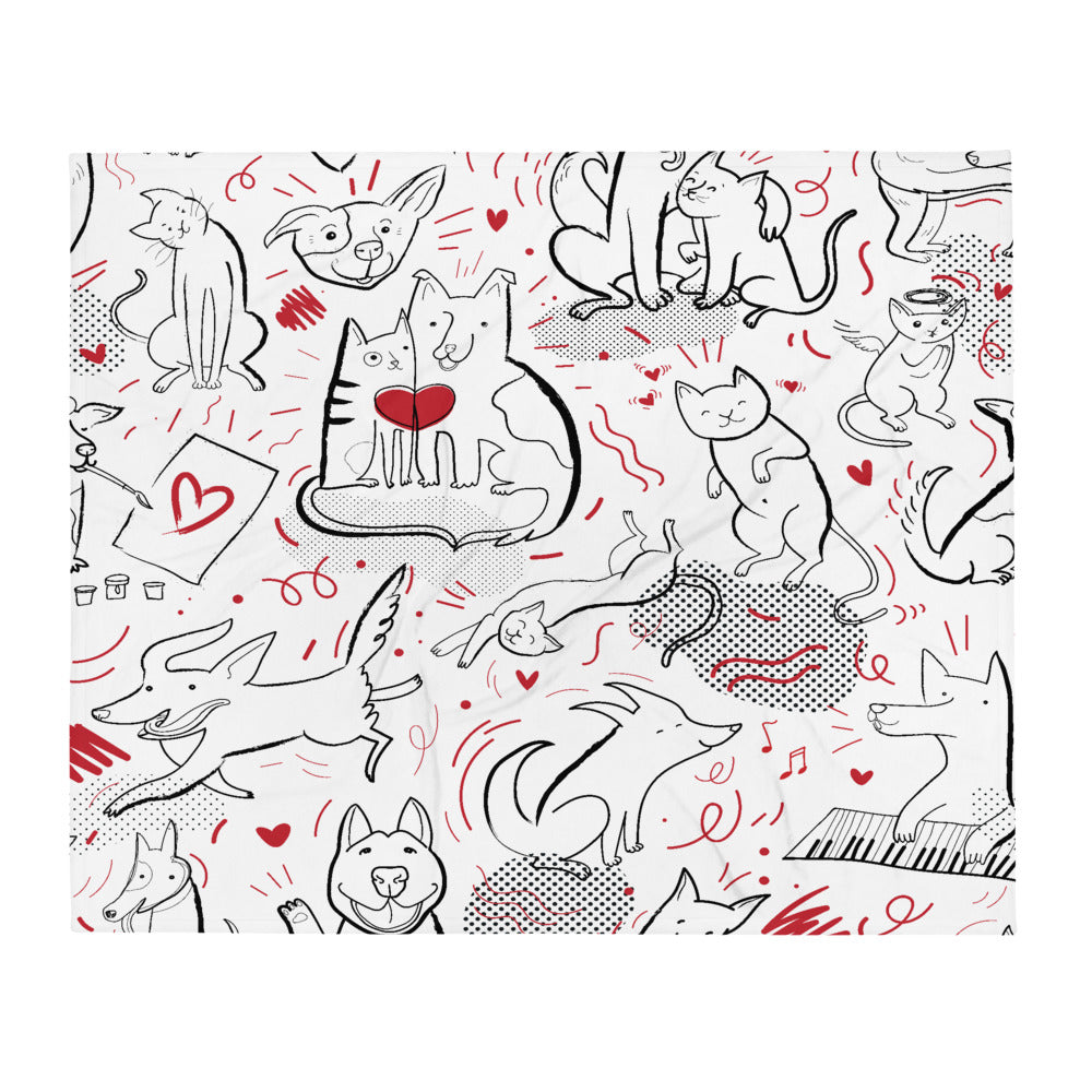 Throw Blanket with Cartoon Pets