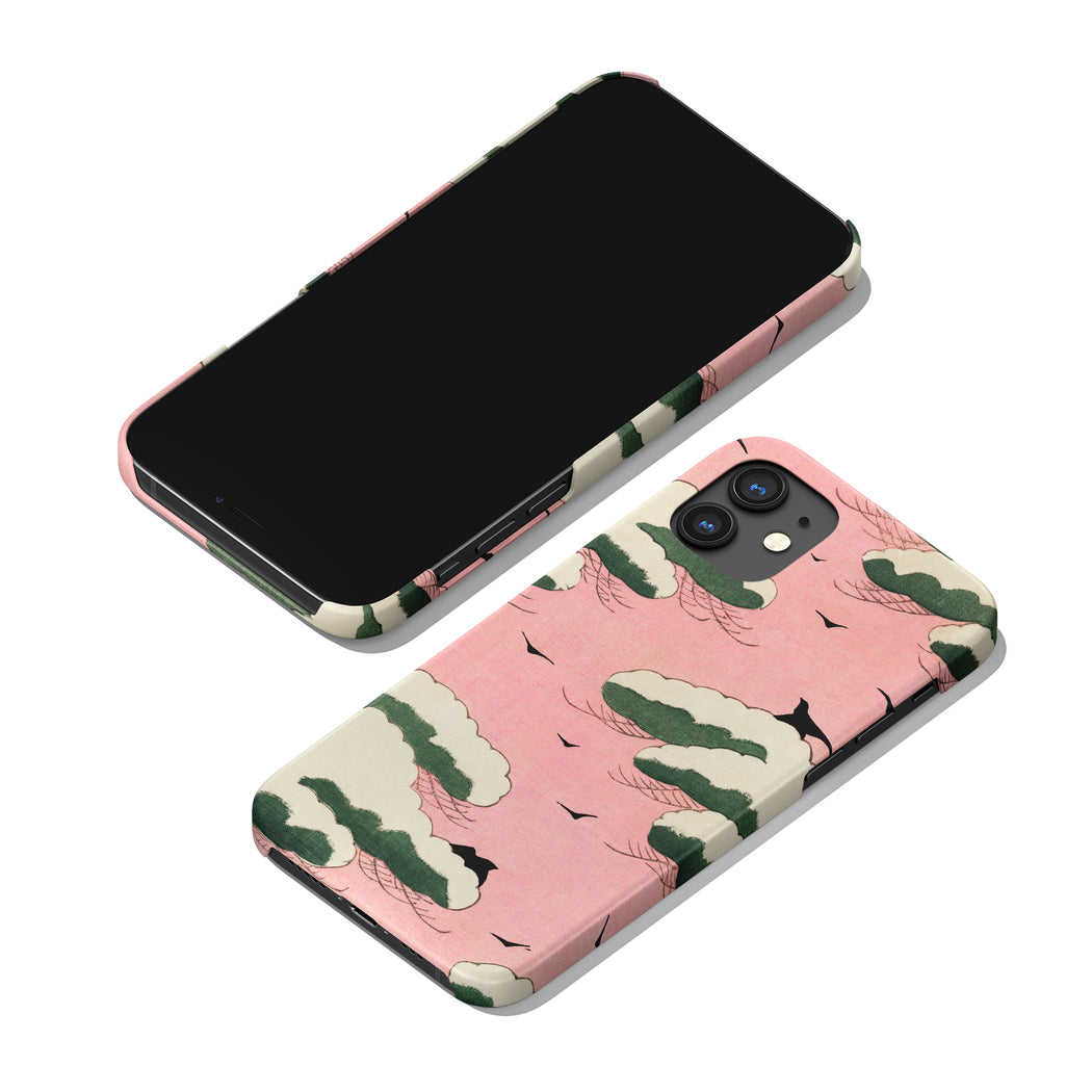 iPhone Case with Japanese Woodcut Print - Pink Sky