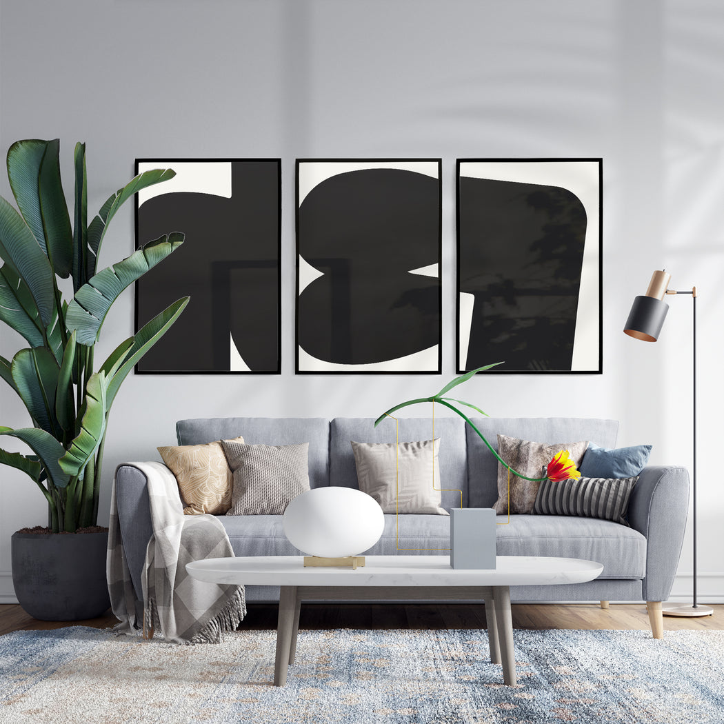 Set of 3 Minimalist Black & White Prints