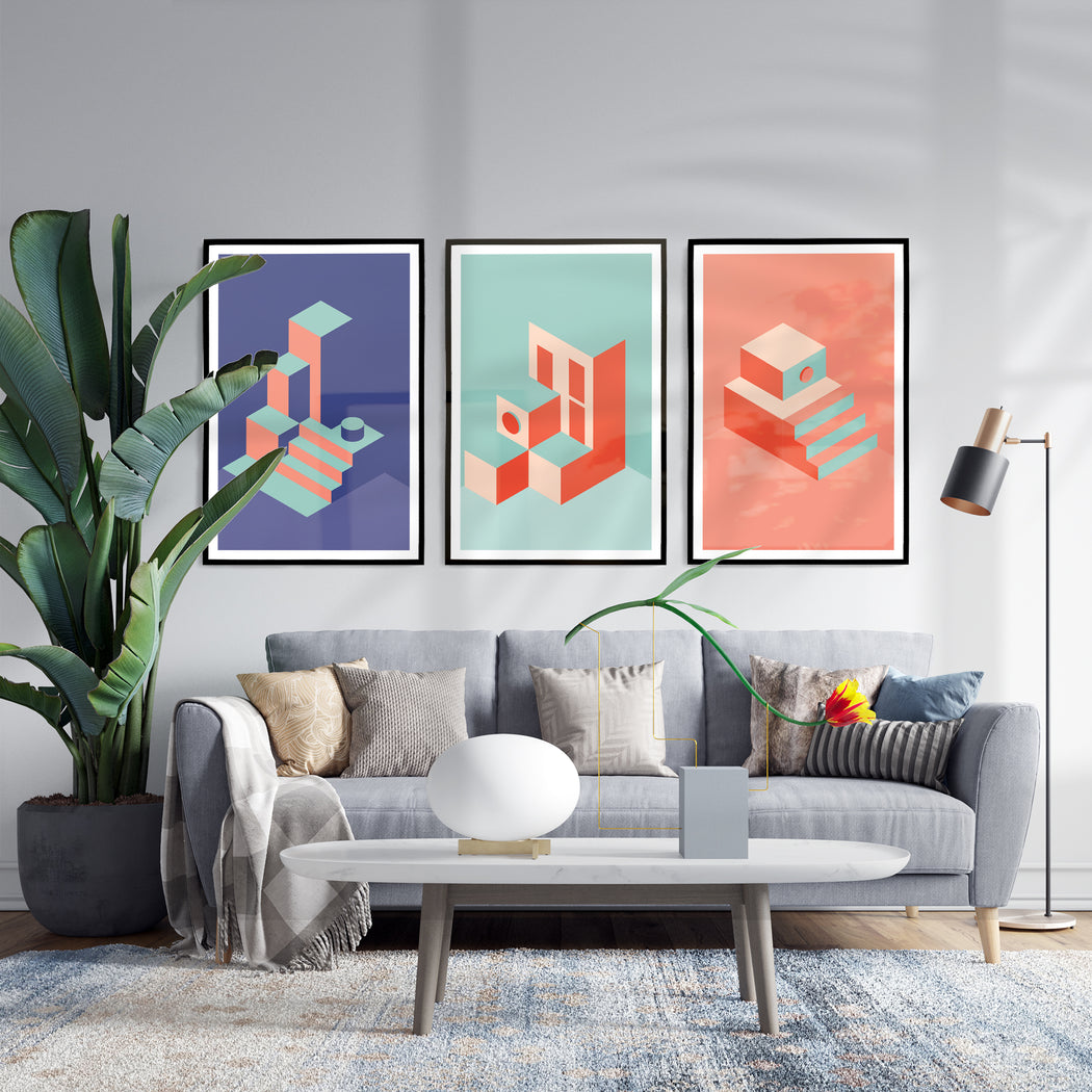 Set of 3 Minimalist Architecture Prints