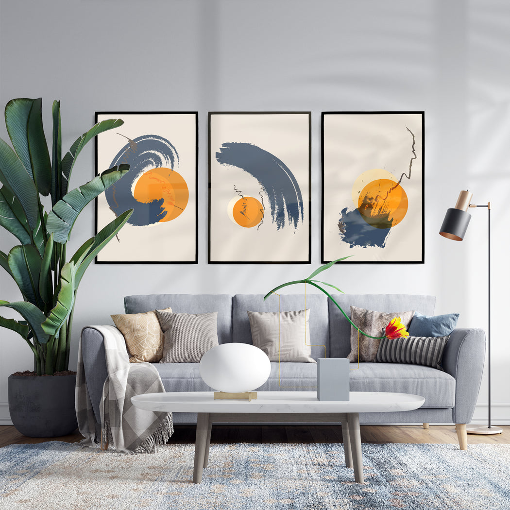 Set of 3 Japan Inspired Abstract Prints