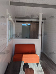 white shiplap shipping container