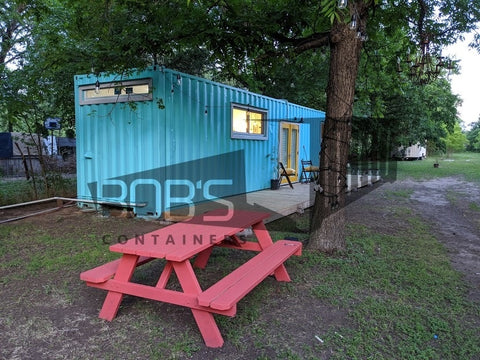 shipping container home - blue