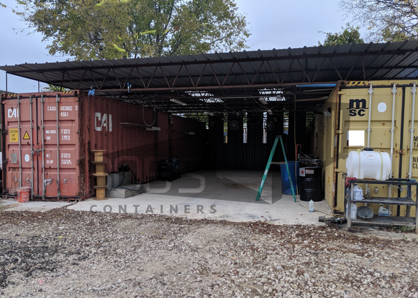 container workshop built with two used 40' shipping containers