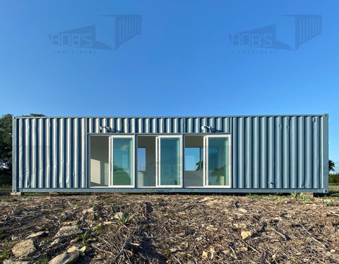 40 foot container home with large windows