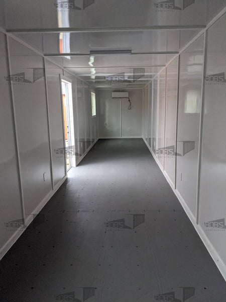 40 foot grey shipping container office interior