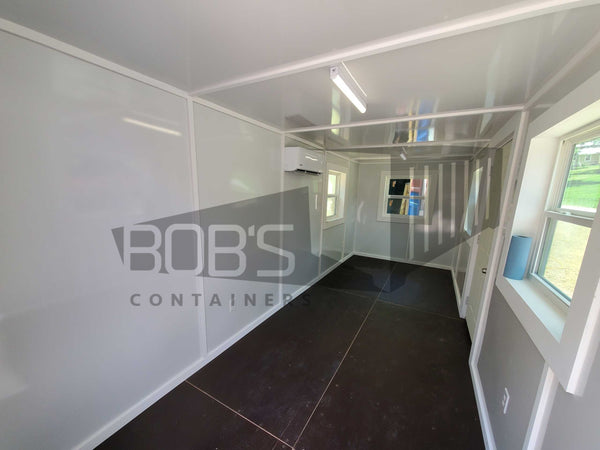20 foot blue shipping container office interior