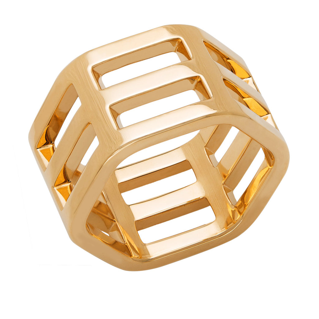 triple row gold ring