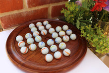 Load image into Gallery viewer, Large polished wooden solitaire set - 30cm diameter with White Coloured Balls