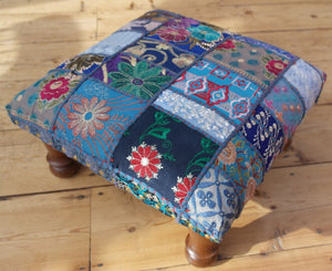Classic patchwork brocade deep blue Indian footstool