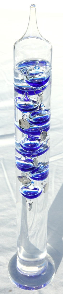 Large 44cm tall Free standing galileo thermometer with blue coloured baubles