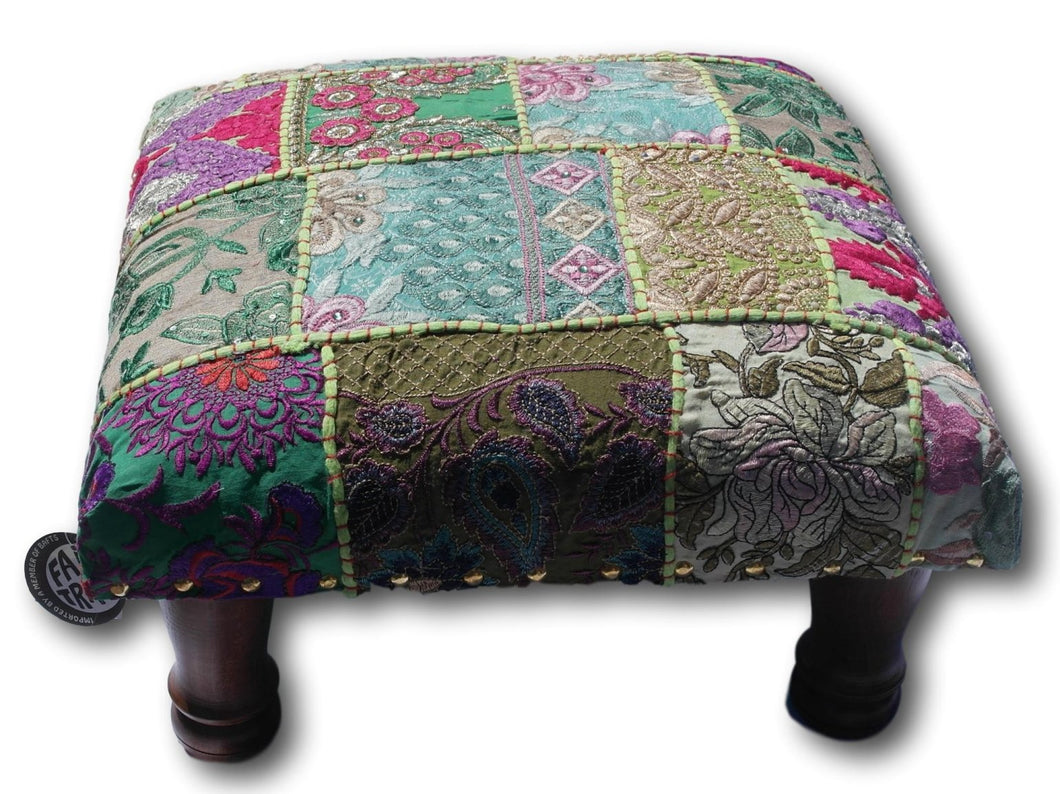 Classic patchwork brocade green Indian footstool