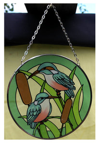 Birds in the garden glass sun catcher