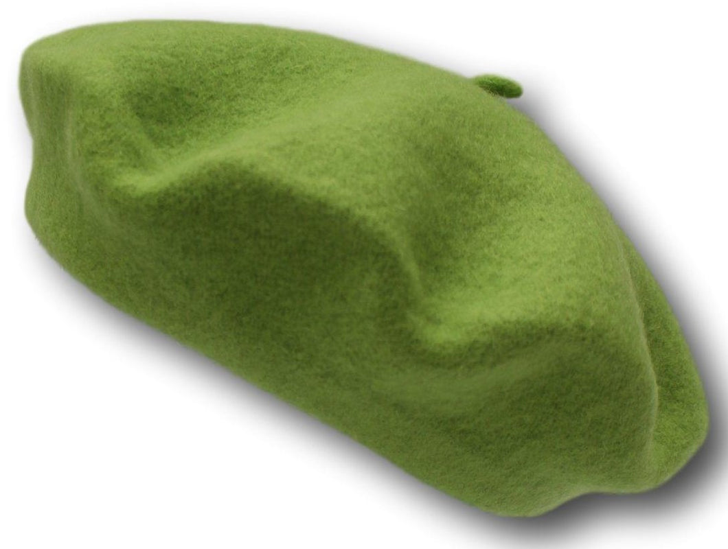 100% Pure Wool Fashion Beret - Light Green - Unisex - for Men & women