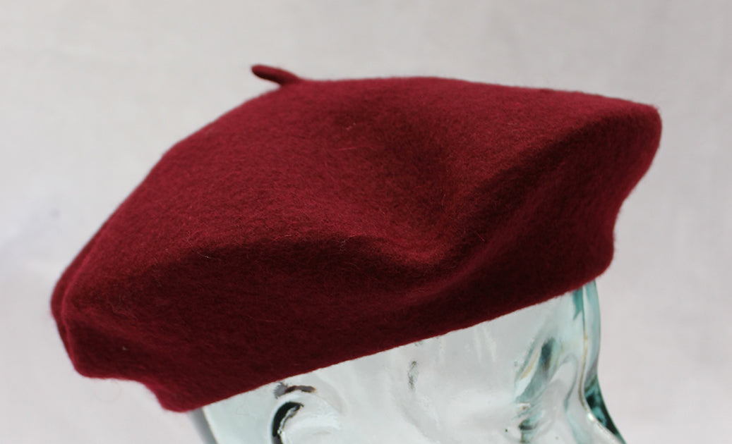 100% Pure Wool Burgundy Beret Unisex ideal for Men and Women