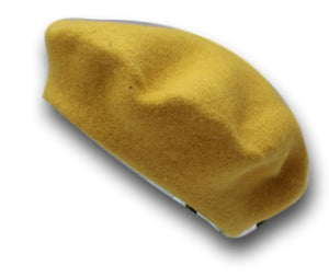 100% Pure Wool Mustard Yellow Beret Unisex ideal for Men and Women