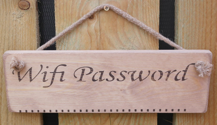 Natural finish wooden sign Wifi Password