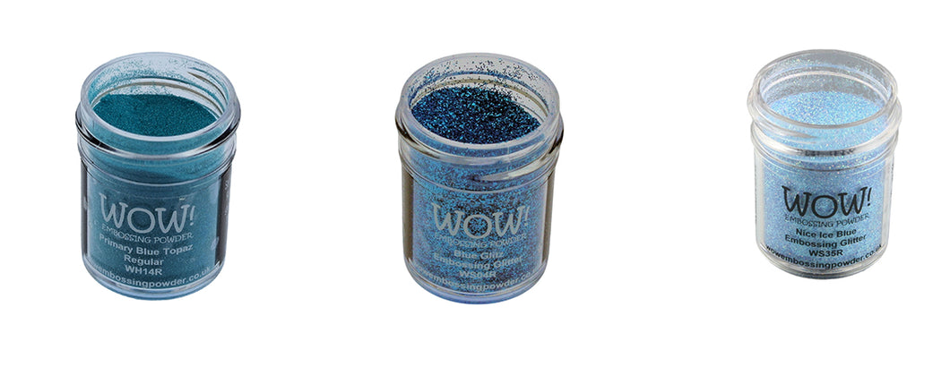 WOW! Glitter Embossing Powder 3 Piece Set - Blue Tones