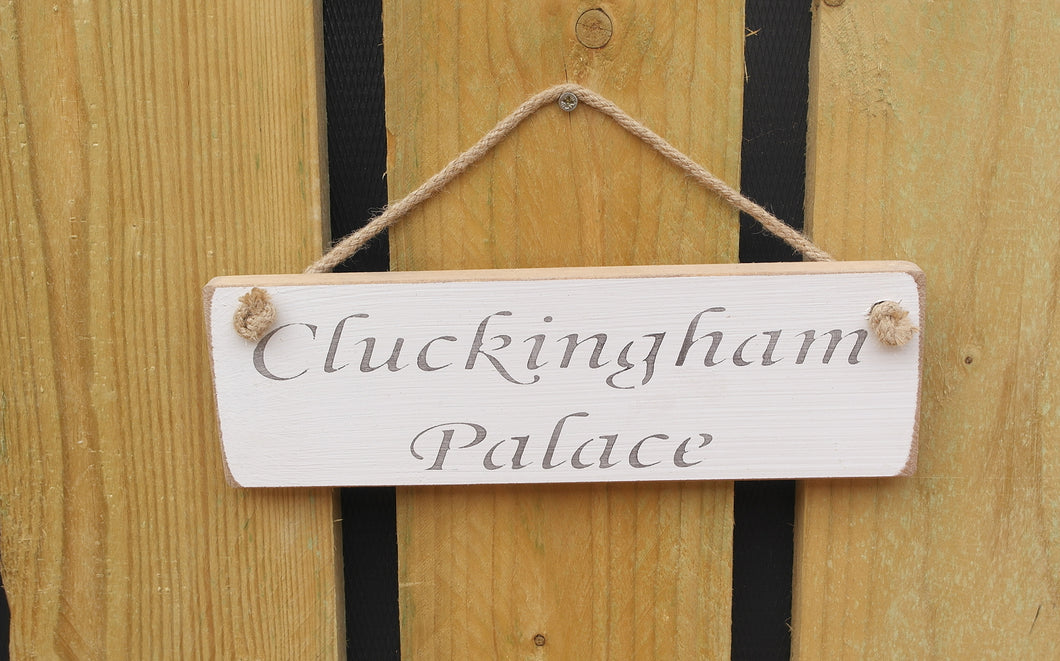 British Handmade wooden sign Cluckingpalace