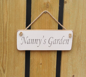 British Handmade wooden sign Nanny's Garden