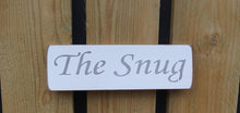 Load image into Gallery viewer, British Handmade wooden sign The Snug