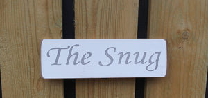 British Handmade wooden sign The Snug