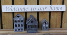 Load image into Gallery viewer, British handmade wooden sign Welcome to our home