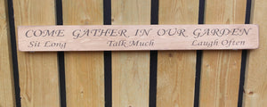 British handmade wooden sign Come gather in our garden