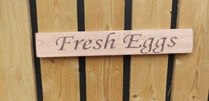 British handmade wooden sign Fresh Eggs